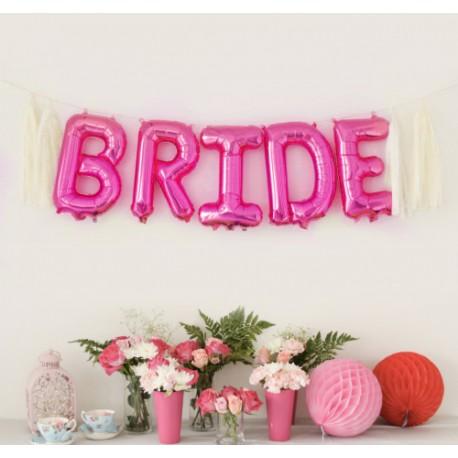 BALONY foliowe napis Bride RÓŻOWY 35 cm