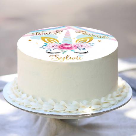 OPŁATEK na tort personalizowany Jednorożec Ø20cm