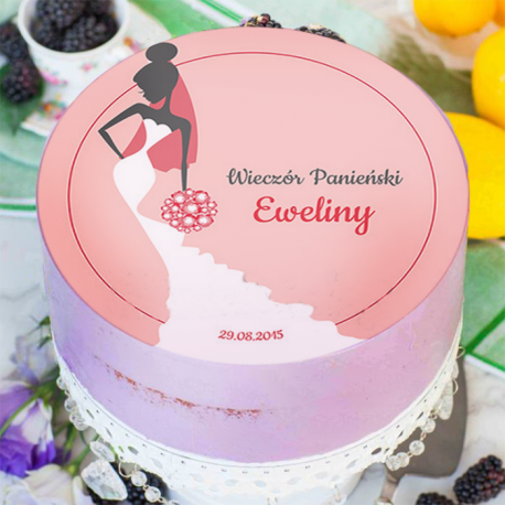 OPŁATEK na tort personalizowany Elegancka Panna Młoda Ø20cm