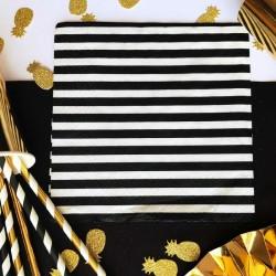 SERWETKI papierowe białe w czarne paski 33x33cm 20szt CZERWONE SERDUSZKA