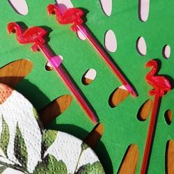 FLAMINGI plastikowe pikery do słodkości/owoców 20szt