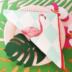 Serwetki papierowe w romby z Flamingiem 33x33cm