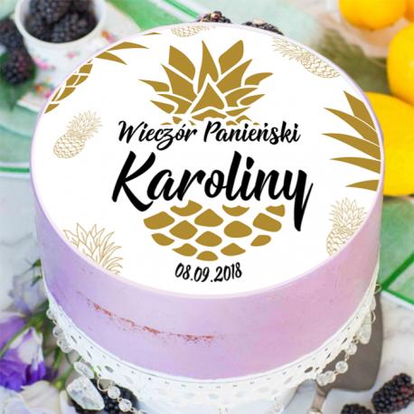 OPŁATEK na tort personalizowany Złoty Ananas Ø20cm
