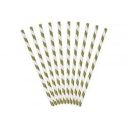 SŁOMKI papierowe w paski metalizowane ZŁOTE 10szt