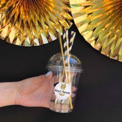 KUBKI plastikowe na imiona Złoty Ananas 12szt