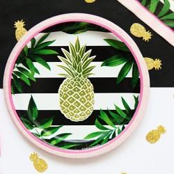 TALERZYKI papierowe Ananas Ø18cm 8szt