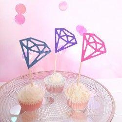 PIKERY do słodkiego bufetu Diamonds kolorowe 6szt