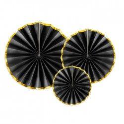 ROZETY papierowe CZARNE ze złotym brzegami 3szt