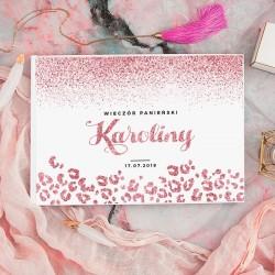 KSIĘGA PAMIĄTKOWA Wieczoru Panieńskiego Glittery Rosegold BIAŁE/CZARNE KARTKI