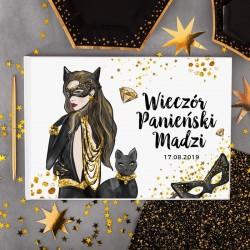 KSIĘGA PAMIĄTKOWA Wieczoru Panieńskiego BIAŁE/CZARNE KARTKI CatWoman