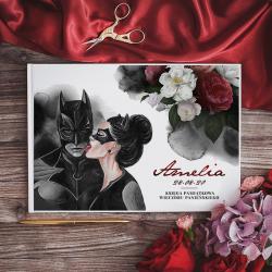 KSIĘGA PAMIĄTKOWA Wieczoru Panieńskiego Batman&Catwoman BIAŁE/CZARNE KARTKI