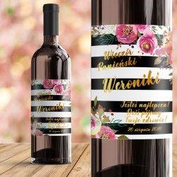 ETYKIETA na Wino personalizowana Flowers Strips