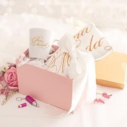 PREZENT DLA PANNY MŁODEJ kubek + szlafrok z nazwiskiem WEDDING GIFT