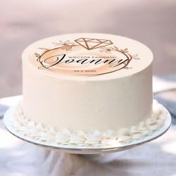 OPŁATEK na tort personalizowany Powiedziałam Tak! Ø20cm