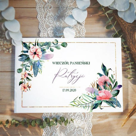 KSIĘGA PAMIĄTKOWA Wieczoru Panieńskiego Eukaliptus BIAŁE/CZARNE KARTKI