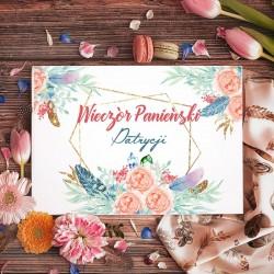 KSIĘGA PAMIĄTKOWA Wieczoru Panieńskiego Pastelowe Piórka BIAŁE/CZARNE KARTKI