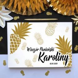 KSIĘGA PAMIĄTKOWA Wieczoru Panieńskiego Złoty Ananas BIAŁE/CZARNE KARTKI