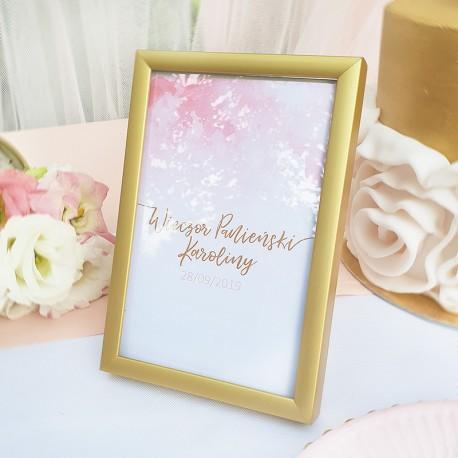 TABLICZKA Rezerwacja na stolik Różowa Akwarela (+złota ramka)