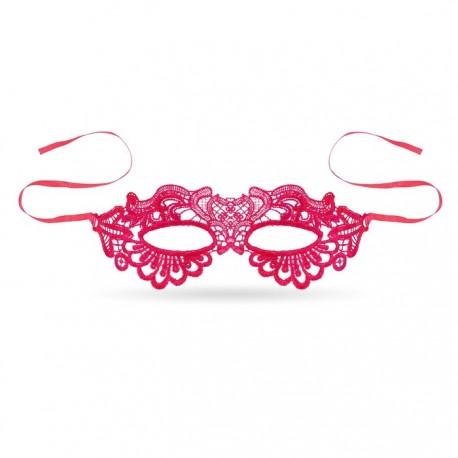 Maska koronkowa na wieczór panieński. Kolor fuksjowy jest bardzo dziewczęcy. Tajemniczy dodatek na panieński.