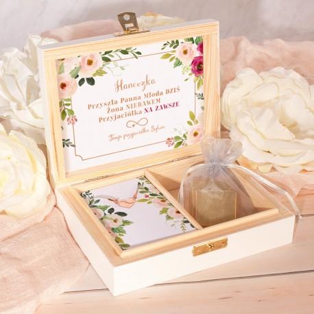 PREZENT dla Panny Młodej w drewnianym pudełku BRANSOLETKA różowe złoto z grawerem Subtelne Kwiaty