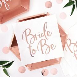 SERWETKI z błyszczącym napisem Bride to Be ROSEGOLD