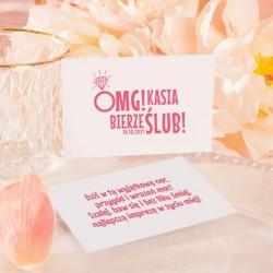 BILECIKI na Wieczór Panieński OMG! personalizowane 10szt