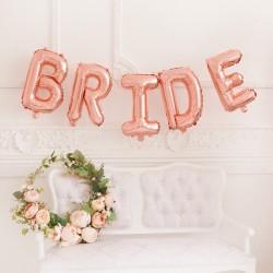 BALON FOLIOWY napis Bride Mega Duży ROSE GOLD