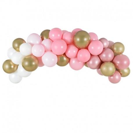 Girlanda z balonów różowych, białych i złotych. Wyjątkowa dekoracja na wieczór panieński