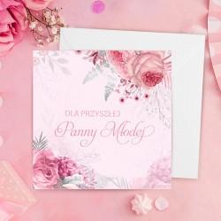 Kartka okolicznościowa na panieński w różowym kolorze. Udekorowana o kwiatową grafikę.