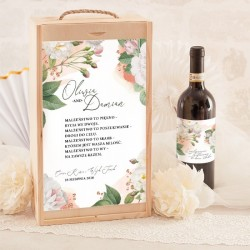 SKRZYNIA na 2 wina prezent dla Pary Młodej Dzikie Róże BIAŁE (+ etykiety)