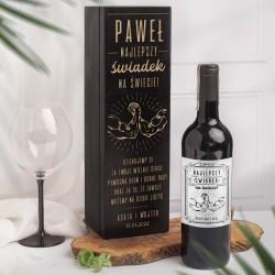ZESTAW drewniana czarna skrzynia i etykieta na alkohol prezent dla świadka