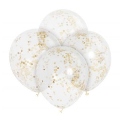 BALONY transparentne ze złotym konfetti 30cm/6szt