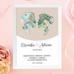 PREZENT plakat NOWOŻEŃCY personalizowany na pieniądze dla Młodej Pary