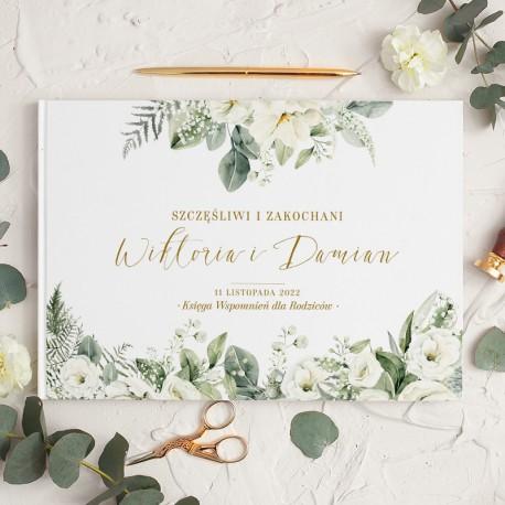KSIĘGA WSPOMNIEŃ dla rodziców Pamiątka od Pary Młodej Białe Kwiaty