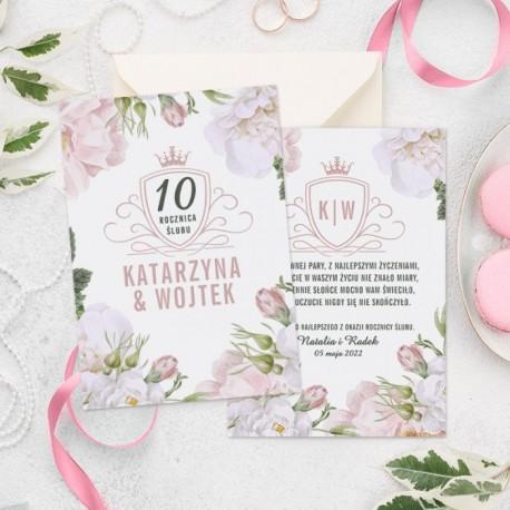 Kartka personalizowana z kwiatowym motywem i personalizacją. Prezent na rocznicę ślubu.