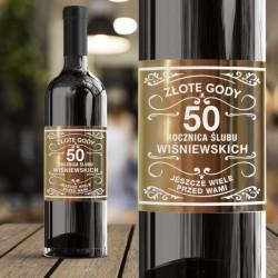 ETYKIETA na wino prezent Złote Gody Metaliczny Nadruk