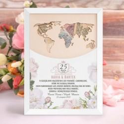 PREZENT Mapa świata na pieniądze Prezent Na Rocznicę Ślubu Sweet Roses