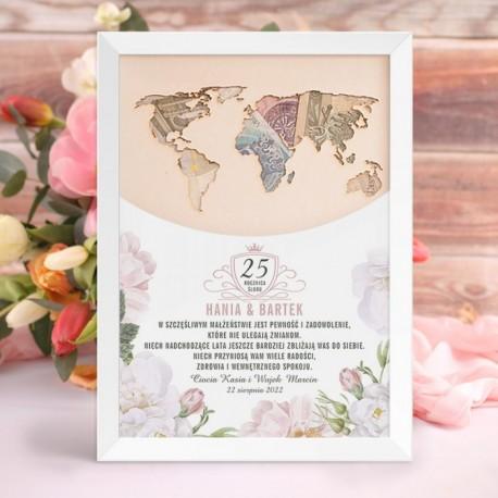 Plakat w postaci mapy świata na pieniądze. Upominek na rocznicę ślubu dla bliskich.