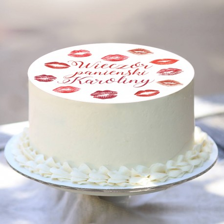 OPŁATEK na tort personalizowany Kiss Ø20cm