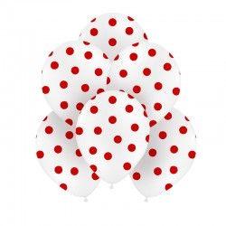 BALONY białe w czerwone kropki 30cm 6szt