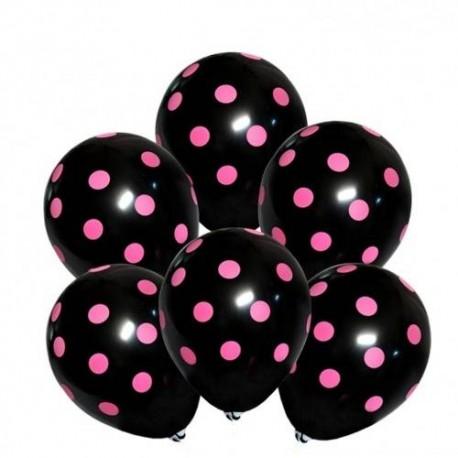 BALONY czarne w różowe kropki 30cm 6szt