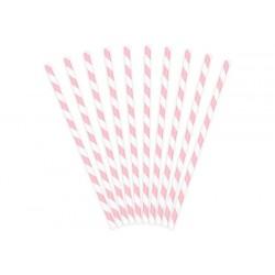 SŁOMKI papierowe w paski JASNORÓŻOWE 10szt