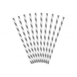 SŁOMKI papierowe w paski metalizowane SREBRNE 10szt