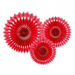ROZETY dekoracyjne ażurowe 3szt CZERWONE