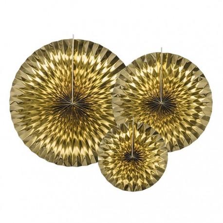 ROZETY dekoracyjne metaliczne 3szt ZŁOTE