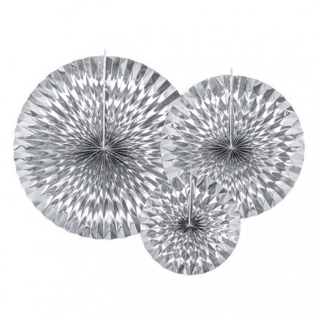 ROZETY dekoracyjne metaliczne 3szt SREBRNE