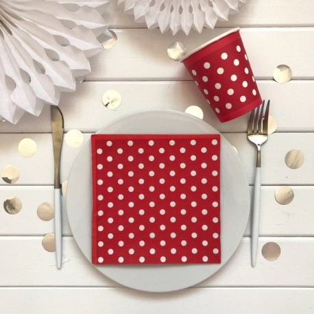 SERWETKI papierowe czerwone w białe kropki 33x33cm 20szt
