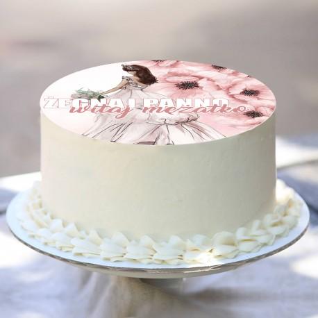 OPŁATEK na tort uniwersalny French Bride Ø20cm