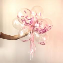 Balony transparentne Różowe Konfetti 24cm 10szt