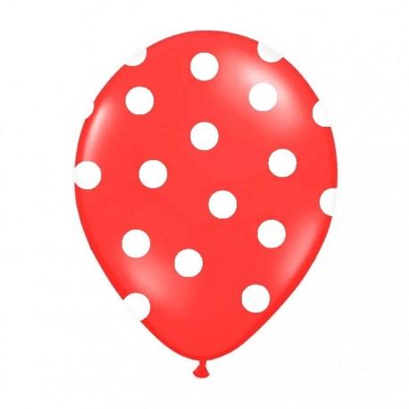 BALONY czerwone w białe kropki 30cm 6szt